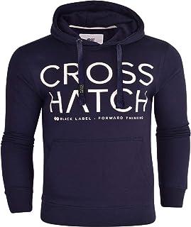 Crosshatch Mens Designer Casual Hooded Fleece Sweatshirt Jacket Overhead Pullover
