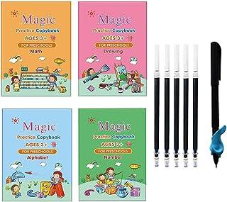 4PCS Calligraphy Copybook, Magic Practice Copy Book, Magic Calligraphy Reusable Handwriting Copybook Set for Kids