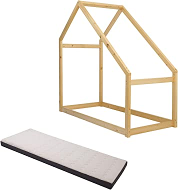 walsport House Children Bed Frame with Mattress Premium Wood Kid's Bed Frames Tent Toddler Bed Wooden House Teepee Bedroom Furniture