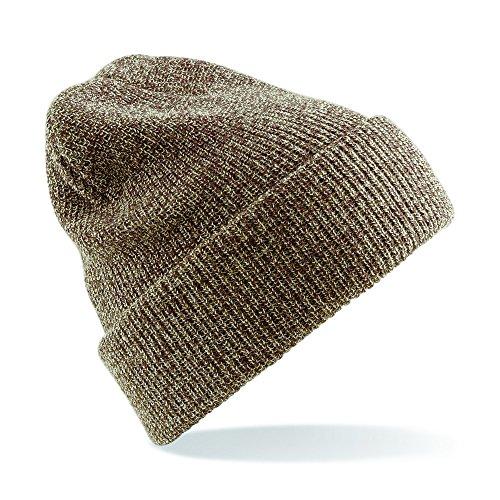 Unisexe Beechfield Heritage vintage double Bonnet en tricot Chapeau - beige - Taille Unique