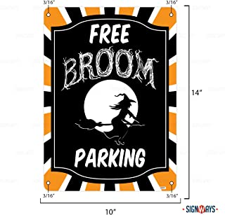 Interstate SignWays Free Broom Parking Halloween Sign, Includes Holes, 3M Quality Reflective, Aluminum, 14