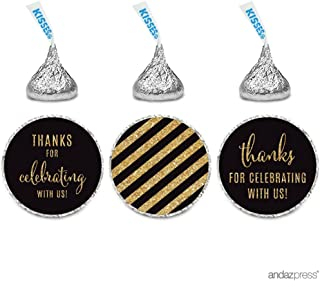 Andaz Press Gold Glitter Print Chocolate Drop Labels Stickers, Thanks for Celebrating with Us Striped, Black, 240-Pack, Not Real Glitter, for Hershey's Kisses Party Favors