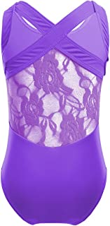 MSemis Kids Girls' Lace Back/Cirss Cross Gymnastic Camisole Tank Leotard Sports Outfit