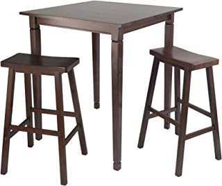 Winsome Kingsgate 3-Piece High/Pub Dining Table with Saddle Stool