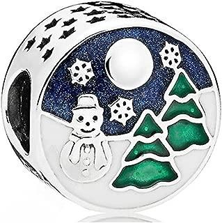 Pandora Snowy Wonderland Silver Charm with Blue & Green Enamel 796384ENMX