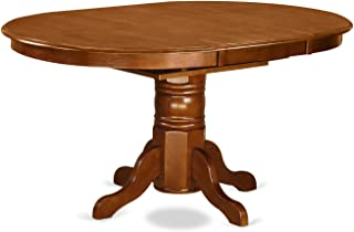 East West Furniture Oval Dining Table with 18-Inch Extension Butterfly Leaf, Saddle Brown Finish