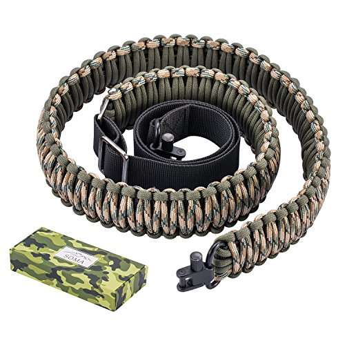 SOMA Gun Sling Paracord 550lb 2 Point Adjustable Strap for Tactical Rifle or Shotgun 4 Colors (CAMO)