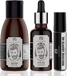 The Man Company Beard & Mooch Care Kit with Almond & Thyme Beard Oil, Beard Wash, & Moustache Roll on for Beard Growth for...
