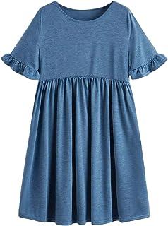 SheIn Women's Solid Ruffle Trim Short Sleeve High Waist Loose Smock Dress