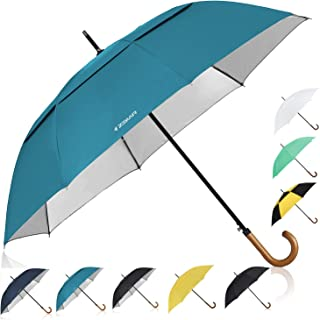 Wooden J-Handle Umbrella, 54/62 / 68 inch, Classic and UV-Protection Versions, Large Windproof Stick Umbrella, Auto Open Men Women Golf Umbrella