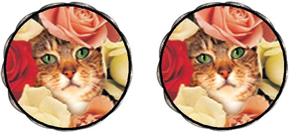 GiftJewelryShop Bronze Retro Style Cat Bouquet Photo Clip On Earrings Flower Earrings 12mm Diameter