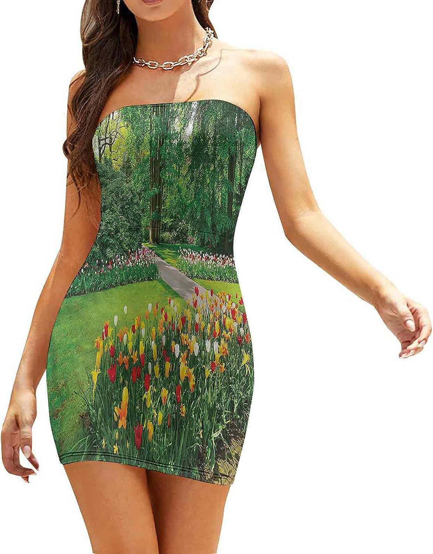 Women's Summer Strapless Dresses Elliptic Leaves on Twigs Dresses