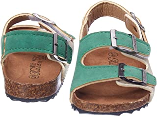 Hopscotch Baby Boys Pu Buckle Closure Sandals in Green Color