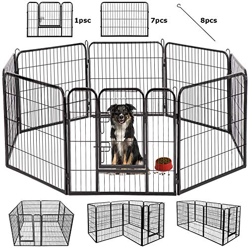 BestPet Outdoor/Indoor 40 Inches Metal Dog Pen Dog Fence Playpen Extra Large Exercise Pen Dog Crate Cage Kennel Black