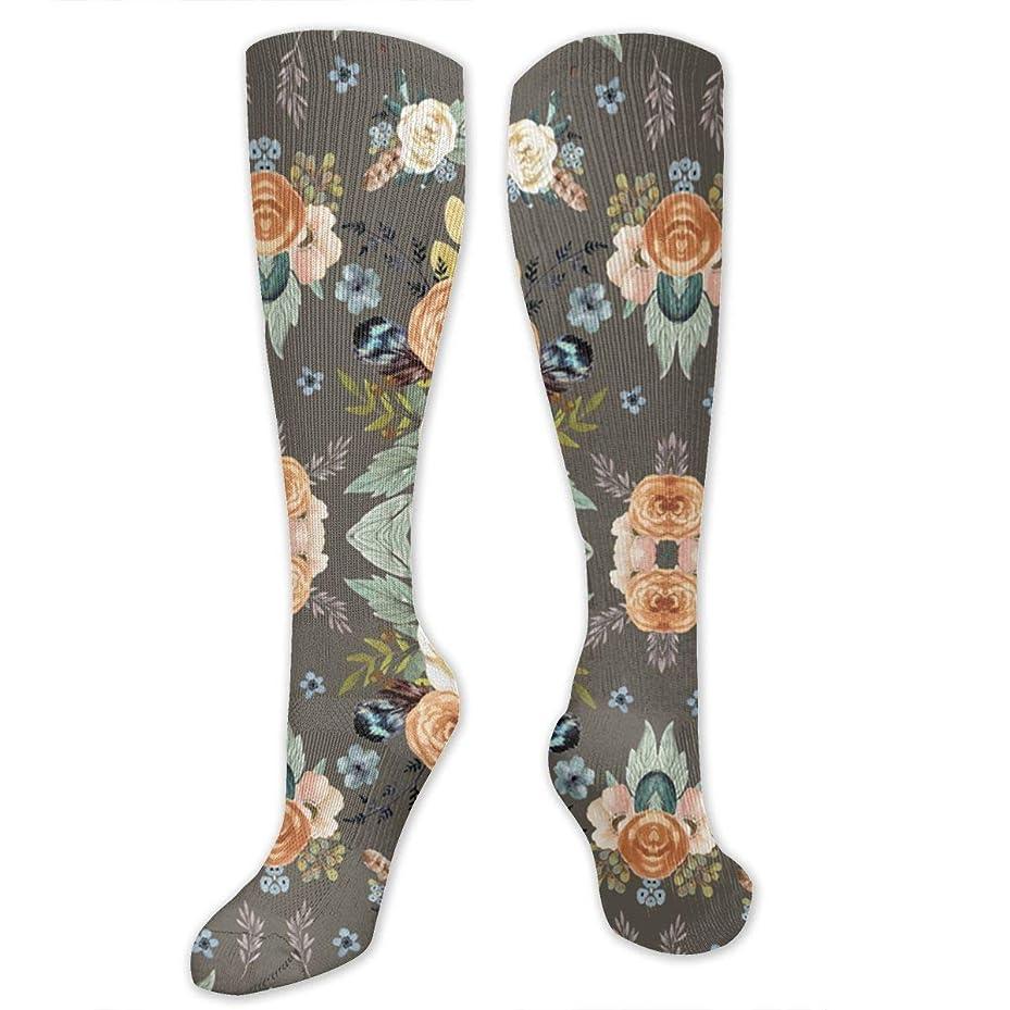 中で憂慮すべき先史時代の靴下,ストッキング,野生のジョーカー,実際,秋の本質,冬必須,サマーウェア&RBXAA Western Autumn More Florals Taupe Socks Women's Winter Cotton Long Tube Socks Knee High Graduated Compression Socks