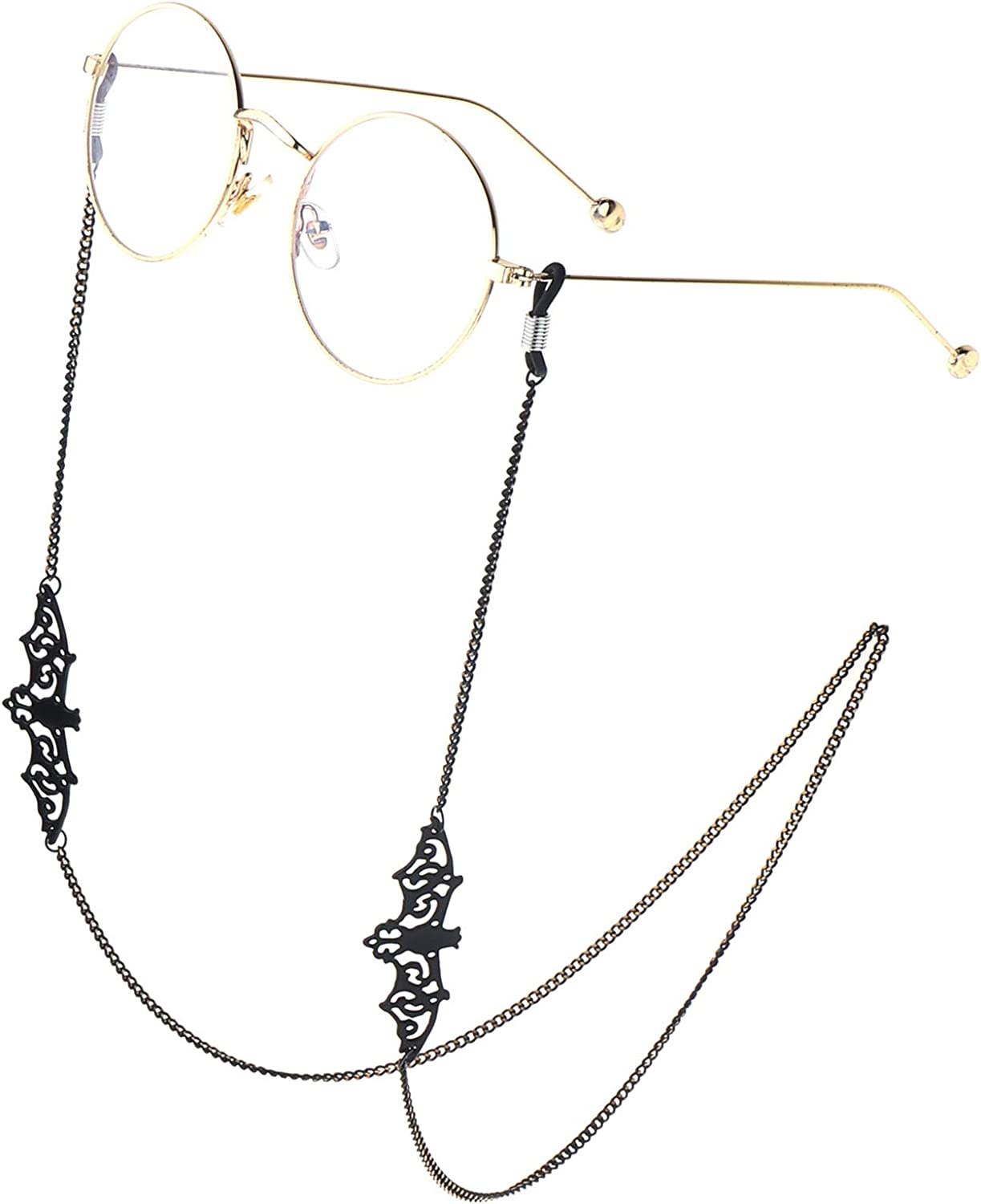 Soapow Eyeglass Chain Hollow-out Bat Eyeglass ,Chain Anti-rust And Durable Eyeglasses String Holder Necklace Chain Great for Daily Travel Banquet