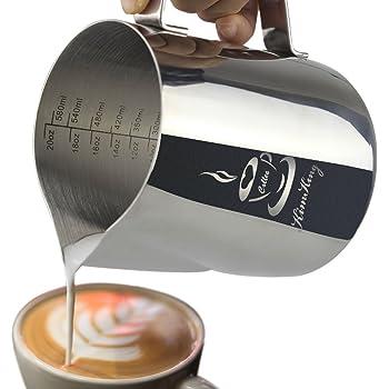 L'acciaio inossidabile latte- 20 oz (600ML) la schiuma di latte lanciatore misurino scale Espresso Cappuccino di Latte Caffè Latte Art