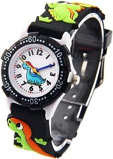 Surpriseyou Young Little Boys Girls Children Kid Cartoon Cool 3D Dinosaur Sports Wrist Watch Black