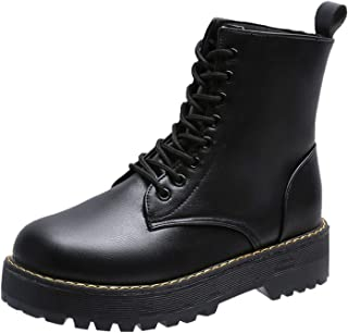 2020 Winter Fashion Women's Boots Lace Up Mid- Calf Round Head Women Boots Black Square- Heel Mid- Heel Pu Women Shoes Botas