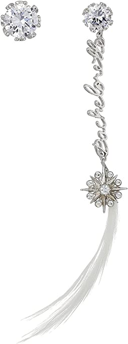 Betsey Johnson - Blue by Betsey Johnson Crystal Stone Stud with Silver Tone Details and Silver 'Bachelorette' Linear with Crystal Charm and Feather Drop Earrings