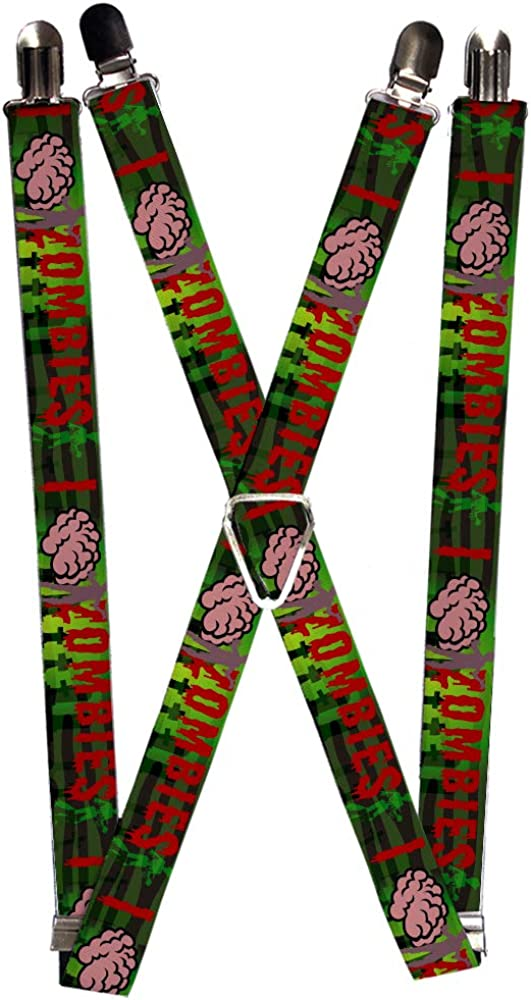 Buckle-Down Men's Suspender-Zombies Quote, Multicolor, One Size