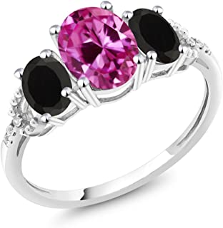 Gem Stone King 10K White Gold Pink Created Sapphire Black Onyx and Diamond Accent 3-Stone Women's Engagement Ring (2.48 Ct Oval, Available in size 5, 6, 7, 8, 9)