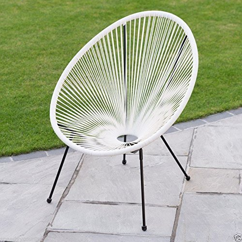 scotrade New Funky Modern Kids String Moon Chair with Steel tube frame legs Outdoor use- White