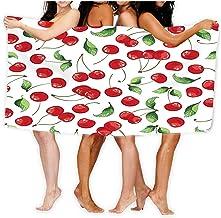 Bath Towel Soft Big Beach Towel 80 X 130CM Cherries Fruit Digital Repeat Bright Cherry Textil