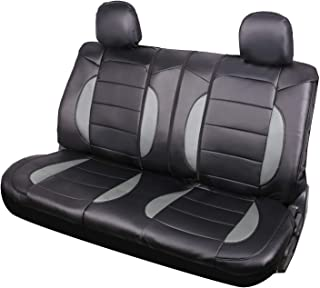 Leader Accessories Mustang Platimun Faux Leather Black/Grey Universal Rear Split Bench Seat Cover 40/60 50/50 for Cars Truck SUV with Headrest Cover