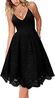 Women's Lace Floral V Neck Spaghetti Straps Backless Cocktail A-Line Dress for Party