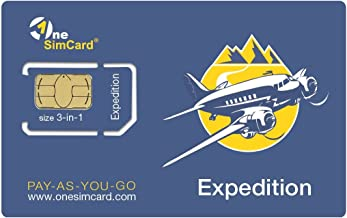OneSimCard Expedition International SIM Card for Travel in 200+ Countries with $5 Credit – Data from $0.01 per MB. Compatible with All Unlocked GSM Devices & Phones