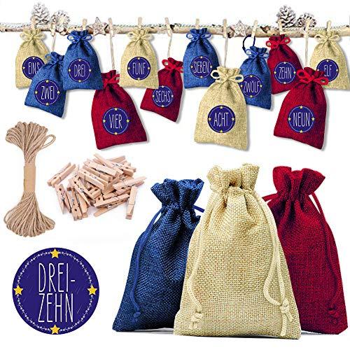 Yuanj 24 Adventskalender zum Befüllen Weihnachtskalender, 24 Stoff Beutel - 3 Farben, DIY Weihnachten Geschenksäckchen mit 1-24 Adventszahlen Aufkleber, Geschenk für Jungen/Mädchen