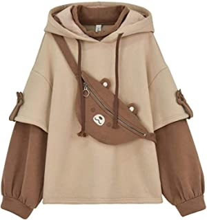YSLMNOR Brown Bear Hoodie for Womens Long Sleeve Sweatshirts Patchwork Shirts with Cute Personality Bag