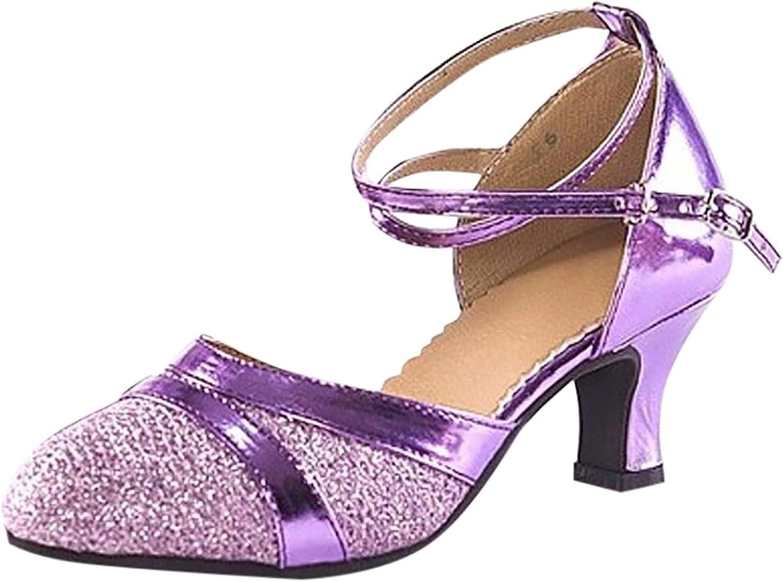 QIUMIN Women's Dance Shoes Ballroom Tango Latin Salsa Dancing Sa