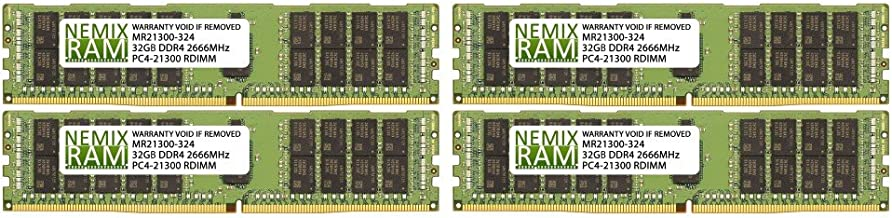 128GB (4x32GB) DDR4-2666MHz PC4-21300 ECC RDIMM 2Rx4 1.2V Registered Memory for Server/Workstation