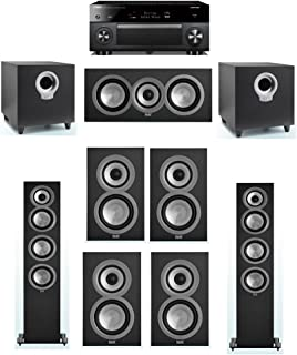 ELAC Uni-Fi 7.2 System with 2 ELAC UF5 Floorstanding Speakers, 1 ELAC UC5 Center Speaker, 4 ELAC UB5 Speaker, 2 ELAC Debut S10 Powered Subwoofer, 1 Yamaha RX-A3070 Receiver