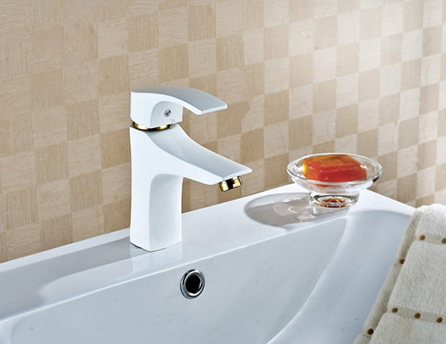 Aawang Deck Mount Basin Bathroom Faucets Vanity Vessel Sinks Mixer Bath Brass Tap White