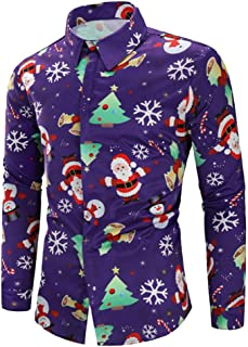 c29a5373f6b4 Men s Christmas Slim Fit Long Sleeve Floral Shirt Casual Button Down Dress  Shirts Blouse Polo Tops
