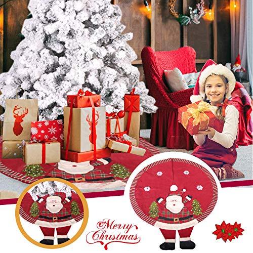 Hunpta @ 120cm Weihnachtsbaumdecke Kreativ 3D Santa Weihnachtsbaum Rock Decke Rund Christbaumdecke Christbaumschmuck Weihnachtsbaumteppich Weihnachten Dekoration Baumrock