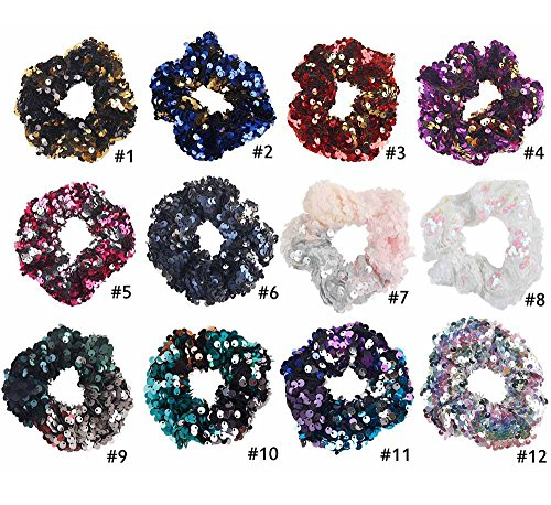 DINPREY 12 Colors Girls Mermaid Sparkly Sequins Scrunchies for Hair Eleastic Bands Hair Scrunchy Hair Ties Ropes Ponytail Holders Rubber Bands for Girls (12 Colors Set)