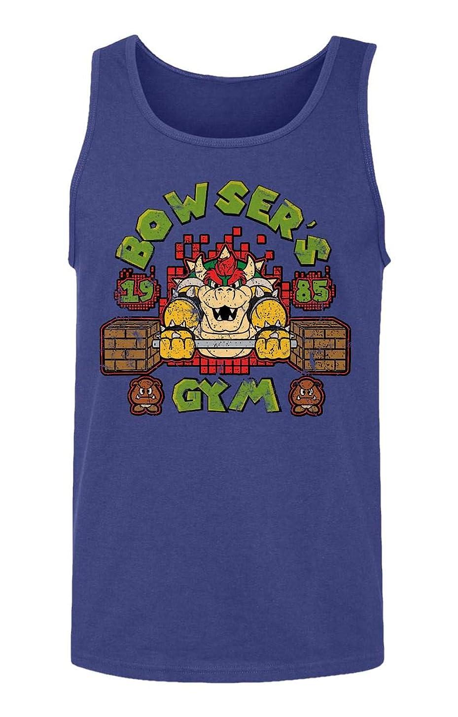 RIVEBELLA New Graphic Mario Novelty Tee Bowsers Gym Men's Tank Top