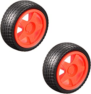 uxcell 65mm Rubber Toy Car Wheel Tires DIY Model Robots 2pcs, Red and Black