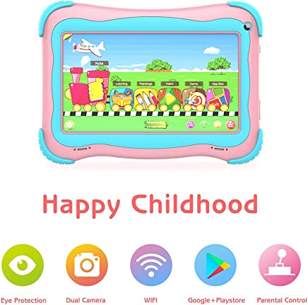 $52 Get Kids Tablet 7 inch Android Tablet for Kids Edition Tablet PC Android Quad Core with WiFi Dual Camera IPS Safety Eye Protection Screen and Parents Control Mode (Pink)