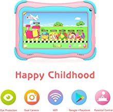 Kids Tablet 7 Android Kids Tablets for Kids Edition Tablet PC Android Quad Core Toddler Tablet with WiFi Dual Camera IPS Safety Eye Protection Screen and Parents Control Mode (Pink)