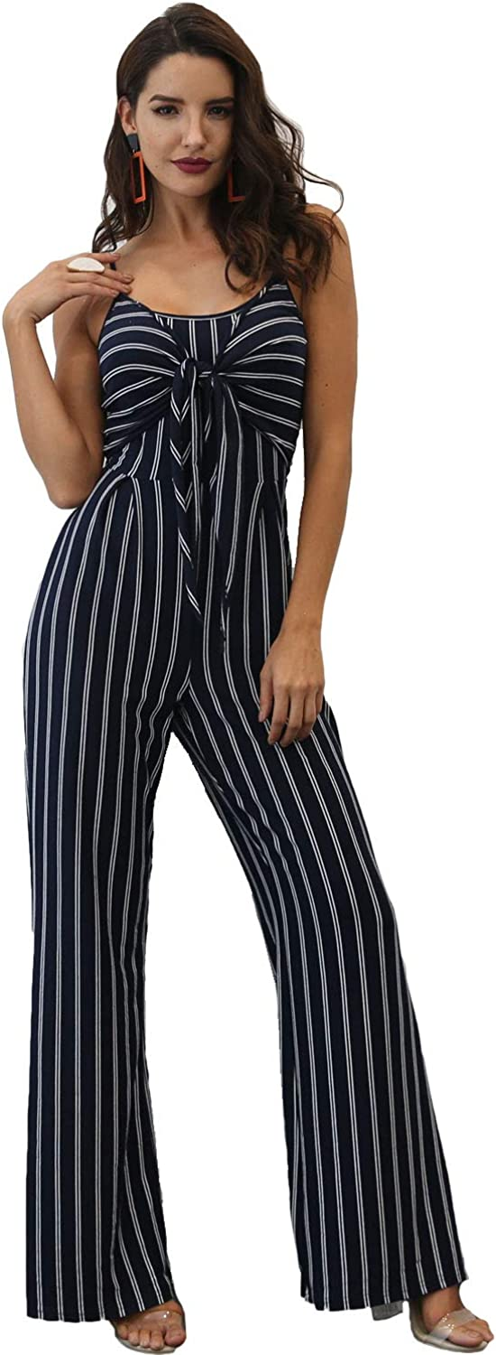 D Jill Women's Casual Spaghetti Strap Striped Backless Long Pants Jumpsuit Romper Sleeveless