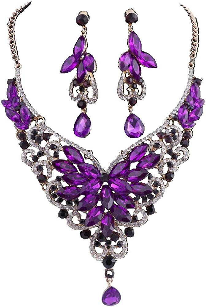 Women 18K Gold Plated Rhinestone Crystal Pendant Necklace Earring Bridal Party Jewelry Sets
