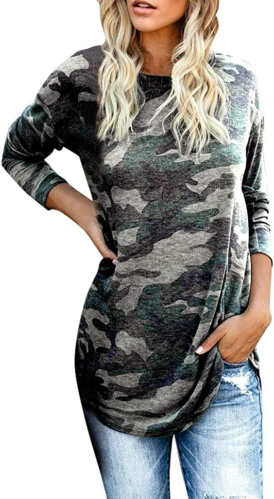 Camo Long Sleeve Shirt for Women EDC Casual Camouflage Leopard Pullover Tunic Sweatshirts Tops Blouse