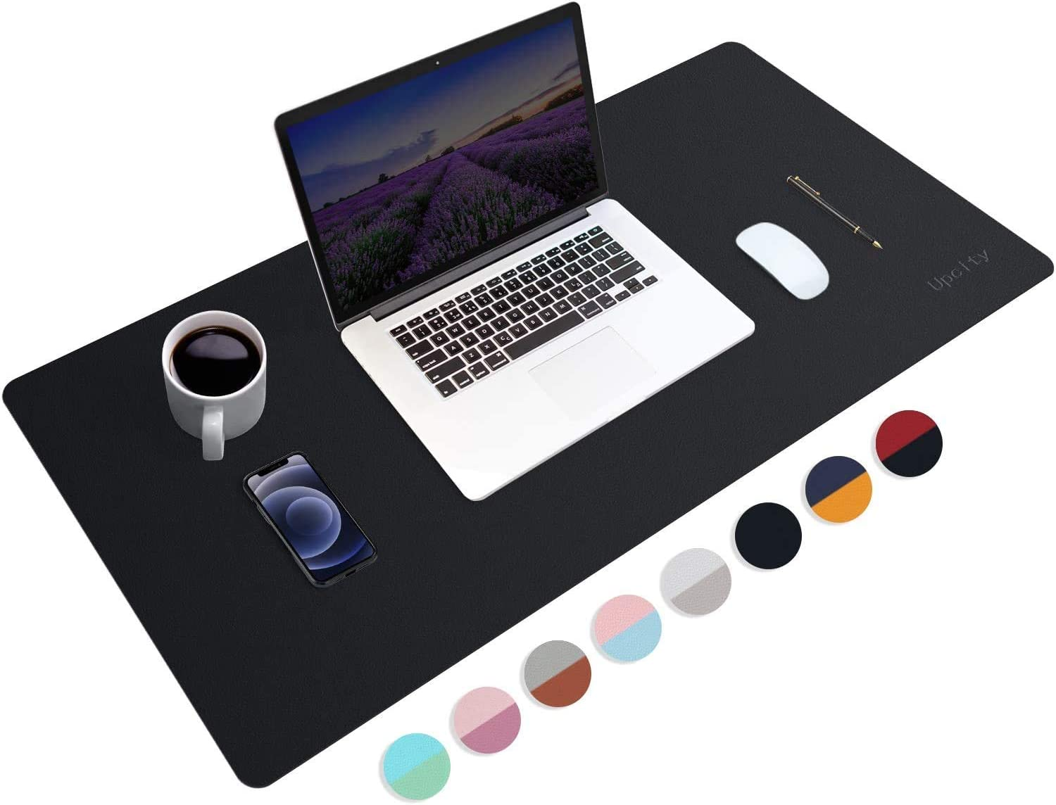 Upcity Desk Mat, Leather Mousepad - Desk Pad for Keyboard and Mouse, Desk Pad Blotter Protector, Waterproof PU Leather Laptop Desk Mat for Office/Home(Black, 2313