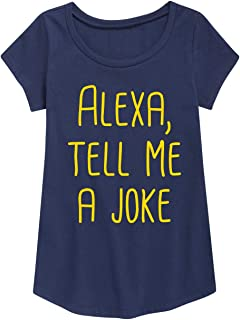Alexa, Tell Me A Joke - Toddler Girl Short Sleeve Curved Hem Tee