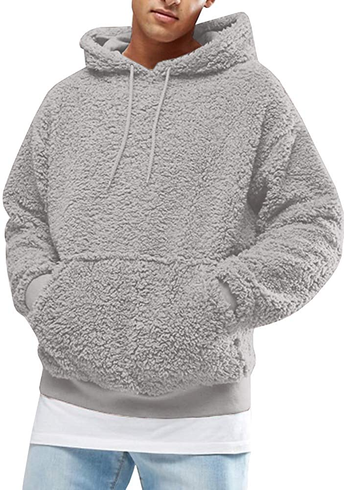 Mens Fuzzy Sherpa security Pullover Hoodie Long Sleeve Sport Sweatshirts Max 50% OFF